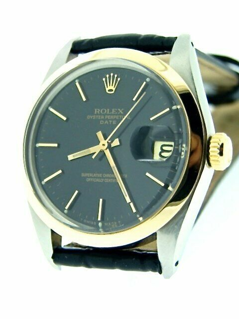 Mens Rolex Date 2tone 14k Yellow Gold Stainless Steel Watch Black Dial Band 1500