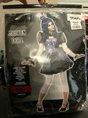 Broken Doll Halloween 5 Piece Costume Junior Girls - Girls Broken Doll Costume