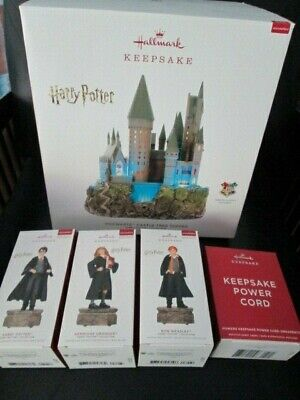 Complete Harry Potter Hogwarts Tree Topper Castle & 3 Christmas Ornaments Set