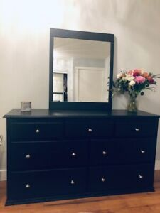 Solid Wood Dresser, Mirror & Side Table