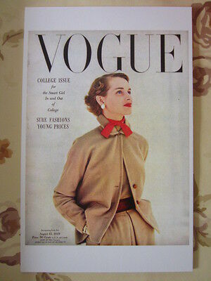 Postcard Vogue Cover John Rawlings August 15, 1949 College Issue