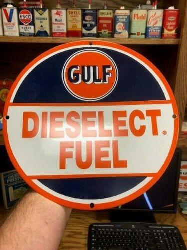 HTF!!  NOS Porcelain Gulf Dieselect Pump Plate
