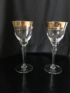 Czech Crystal Gold rimmed wine glasses (8)
