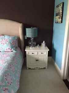Antique White nightstand, desk with hutch, dresser