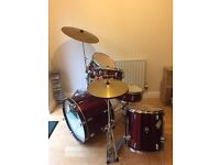 Fully Set Up Drum Kit In Great Condition, Ideal Kit for Beginners and Learners