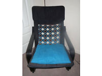 Ikea Poang chair, black frame & cover, no foot stool, smoke/pet free home, suit kids bedroom office