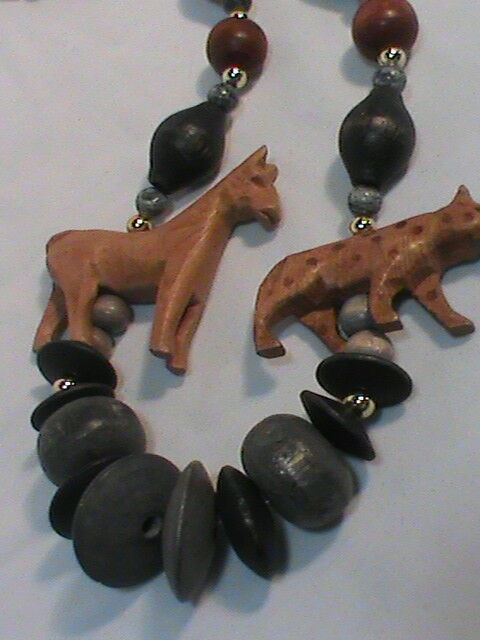 Wood Bead Carved Zebra and Leopard Figural Necklace