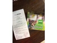 £94 pets at home gift card with receipt.