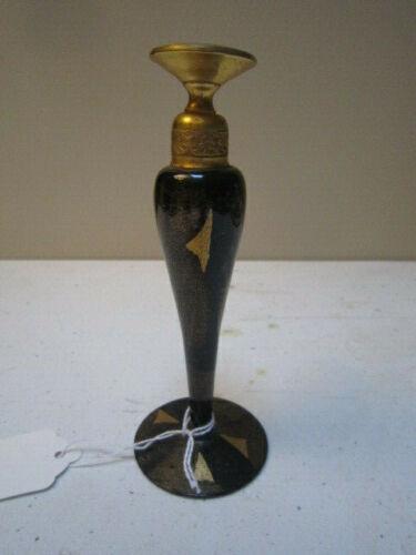 Antique Devilbiss Dropper Black & Gold Glass Perfume Bottle - Signed