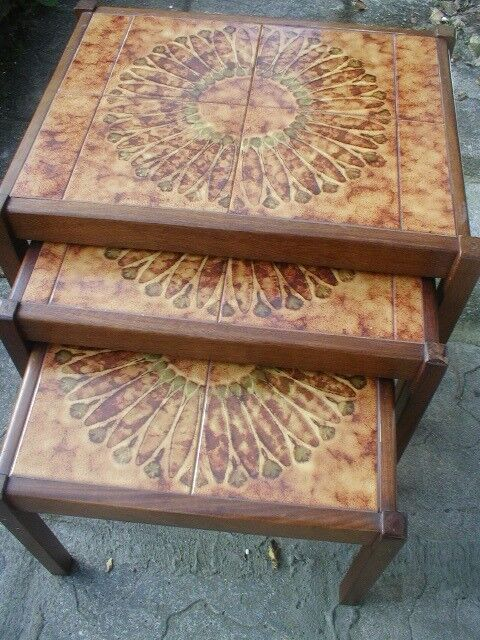 vintage 1970's tile topped nest of tables
