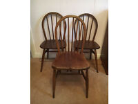 MID CENTURY RETRO VINTAGE SET OF 3 WOOD ERCOL DINING CHAIRS £200.00