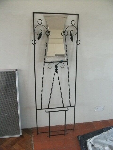 Wall-Mounted Coat Rack with Mirror and Umbrella Stand