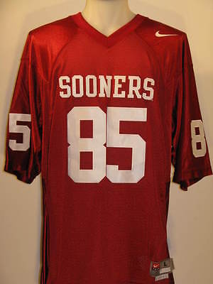 Oklahoma Sooners #85 Red Men's Large Nike Twill Football (Twill Mens Football Jersey)