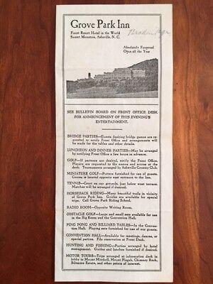 RARE 1934 Grove Park Inn Menu, ASHEVILLE North Carolina Mountain Resort Ephemera