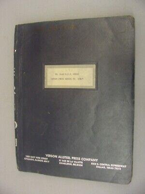 Verson Allsteel D-60 O.b.i. Press Maintenance Manual - 1976