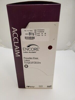 Ansell Encore Acclaim Latex Powder Free Surgical Gloves 71-5795006 Size 8 12