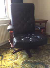 Two Luxury Black Leather Swivel Chairs