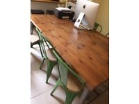Custom Industrial Style Wooden and Metal Table