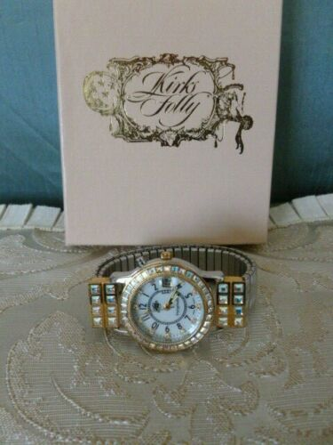 KIRKS FOLLY UNFORGETTABLE K903L TWO TONE STRETCH BAND WATCH - New in Box!