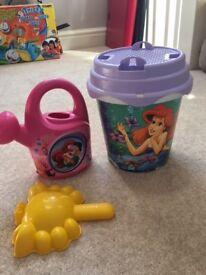 Bucket, spade and watering can - Disney Mermaid themed