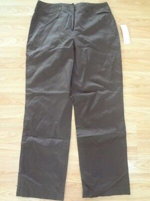 NWT Womens Larry Levine Brown Slim Leg Stretch Pants Size 12 inseam 30 inches