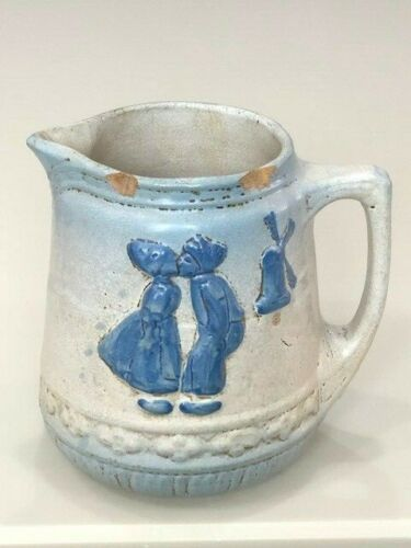 Blue White Stoneware Salt Glaze Kissing Dutch Kids Pitcher McCoy Ohio early 20th