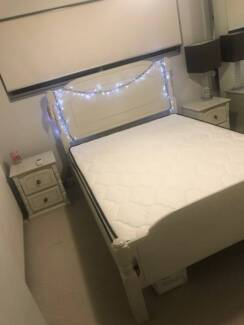 queen bed frame mattress and bed side tables