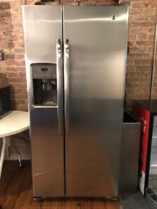 """GE 33"""" Stainless Steel Side-By-Side Refrigerator"""