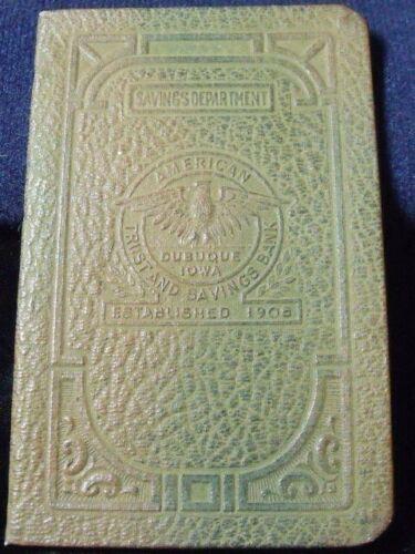 RARE AMERICAN TRUST AND SAVINGS BANK DUBUQUE, IOWA SAVINGS PASS BOOK UNUSED