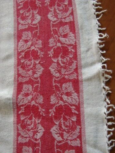 ANTIQUE EARLY 1900s TURKEY RED BORDER LINEN DAMASK TABLECLOTH 45 X 70