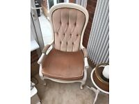 Pair of High Backed Deep Buttoned Occasional Chairs