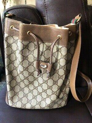 Vintage Gucci Bucket Bag red green stripe monogram canvas leather trim purse