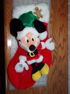 Vintage Disney World Minnie Mouse in red dress Christmas Plush Stocking ~ RARE