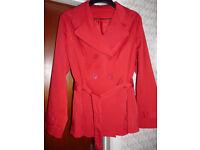 Ladies RED TRENCH COAT, Size 20