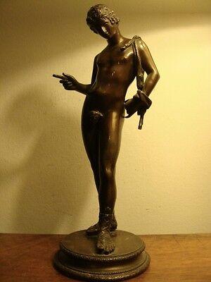 Uralte Mythologische Bronze Figur Narziss Bacchus Akt 19. Jh.