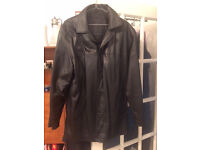 Two Leather Coats.... one a zipped jacket heavy duty XL waist length. one three button coat XL
