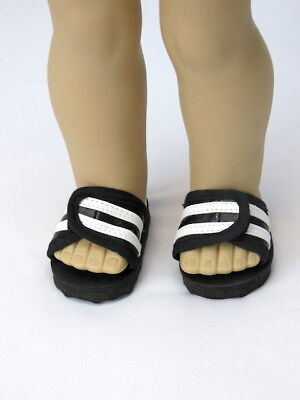 Black And White Stripe Sandals Shoes Fits 18