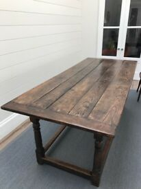 A stunning antique oak refectory dining/farmhouse style table c 1920