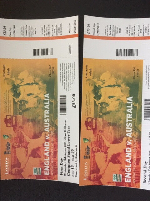 Tickets for Day 1 and 2 of the 2nd Ashes Test at Lords | in Calne,  Wiltshire | Gumtree