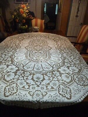 "Vintage Lace Tablecloth Scotland 67 x 94"" Lace Flowers Ornate Two Tones May Co"