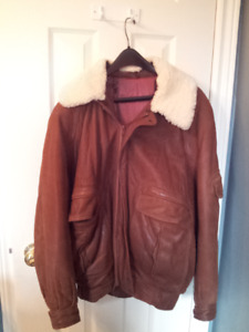 Men's soft Leather Bomber Jacket with removable wool collar
