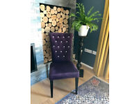Beautiful Velvet Chair with Crystal Diamanté Buttoned Seat Back, RRP £80