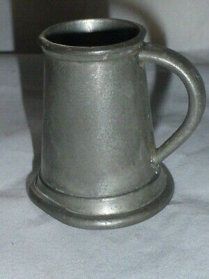 Great Antique Edwardian Pewter Straight Sided 1/4 Gill Measuring Jug