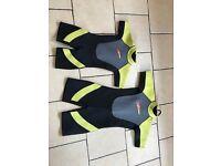 Two short neoprene wetsuits for children
