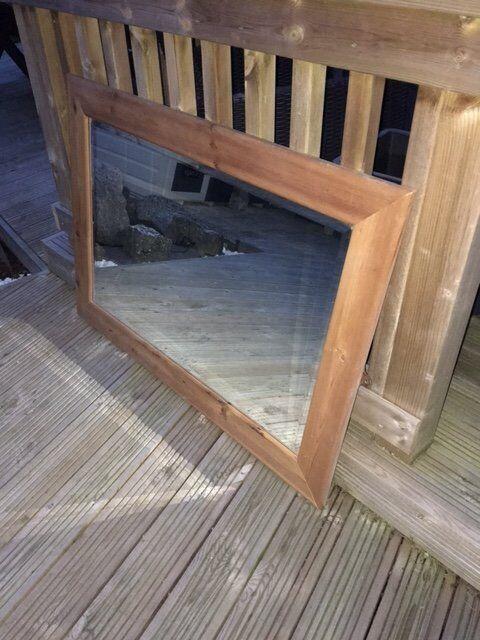 Large Bevelled Edge Pine Frame Mirror