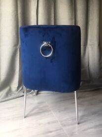 Velvet Blue Dining Chair x 2 | Silver Knocker | Silver Legs