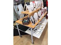 High Quality Shop Floor or Window Display Units in Oak and white Oak with Grey Metal Supports