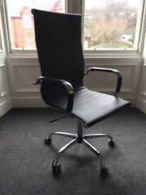 New Eames style high back, adjustable height office chair on casters in black PU leather