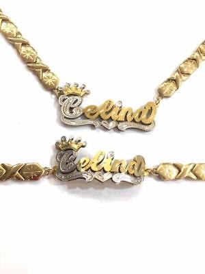 Personalized 14k gold overlay 3D xoxo Name Necklace and bracelet set / crown