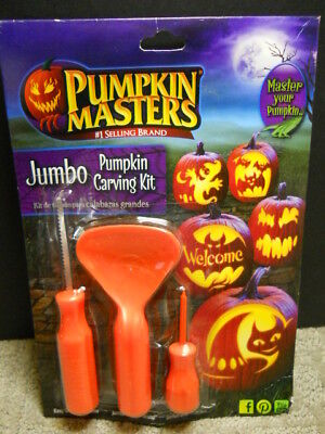 Halloween Pumpkin Masters Jumbo Pumpkin Carving Kit 3 Tools 5 Patterns New  - Patterns Pumpkin Halloween